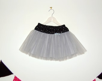 Black and grey cotton and tulle skirt size 8