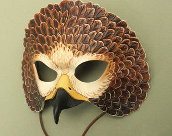 Red Tailed Hawk Leather Mask - Raptor Costume Bird Mask with Beak