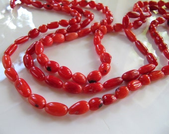 Bamboo CORAL Beads in Bright Red, Tube Nuggets, Dyed, 7mm - 12mm Long, 1 Strand 16 Inches, Approx 50 Pieces