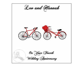 Handmade Personalised Fourth Wedding Anniversary Card 4th Road Bikes Bicycle Hearts Linen