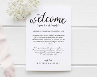 Wedding Welcome Bag Note, Welcome Bag Letter, Wedding Itinerary, Agenda,  Printable Itinerary