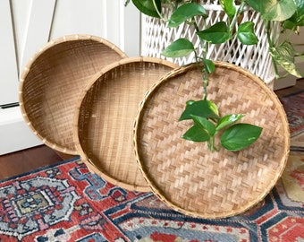 Vintage Wall Basket Trio •  Woven Bamboo Winnowing Baskets • Bohemian Decor