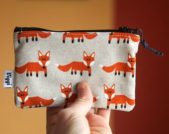 zipper wallet / coin purse fox / women zipper pouch / coin pouch vegan