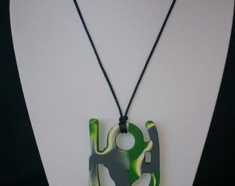Silicone Helicopter Pendant Necklace - Camo Green