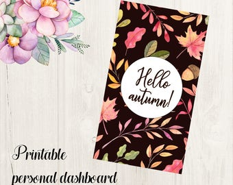 Hello Autumn Personal Planner Dashboard Printable for Filofax, Kikki K, Webster's Pages