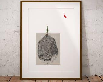 Tree + Moon Collage Digital Art Print