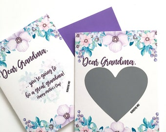 Pregnancy Scratch Off Card Card for Grandma - Pregnancy Reveal Card For Grandmother - Purple Flowers Mother's Day Card - New Great Grandma