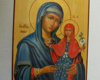 "Holy righteous Anna, mother of the Virgin Mary icon hand-painted  of hot colors directly on solid wood  18x24x2 см ( 7.0""x 9.6""x0.8"" )"