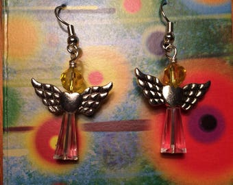 Angel dangle earrings with yellow and clear cut crystal beads