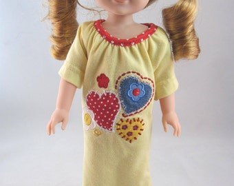 Pajamas for a WellieWisher or a Hearts for Hearts doll. Yellow with applique. Includes handmade crocheted matching booties.