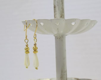 Genuine Mother-of-Pearl Earrings, Gold-Plated Earwires, Victorian, Civil War Appropriate - Affordable Elegance
