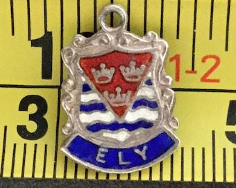 Enamel Silver Charm Shield Ely Vintage Bracelet Charm Necklace Pendant Cambridgeshire