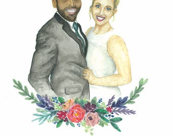 Custom / Watercolor / Portrait / Wedding / Save the Date / Realistic / Bouquet / Flowers / Anniversary / Engagement / Couples / Painting