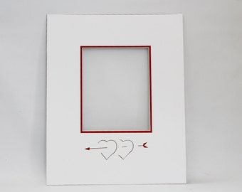 Heart Signature Mat  for Wedding / Event  - Guest Book with Two Hearts & an Arrow - FREE PEN