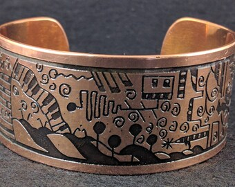 Engraved copper bracelet . Etched copper cuff bracelet. Solid copper cuff.bracelet