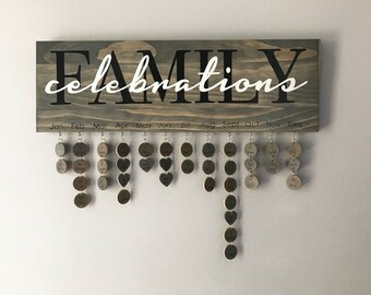 Family Celebrations Sign - Hand Painted - Never Forget a Date Again - Family Celebration Board - 0105