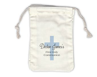 First Communion Cross Cotton Favor Bags for Religious Ceremony in Black and Light Blue - Ivory Fabric Drawstring Bags - Set of 12 (1006)