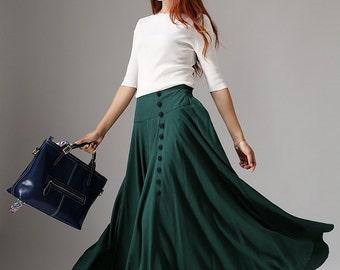 Green skirt, linen skirt, buttoned skirt, maxi skirt, casual skirt, pleated skirt, fall skirt, handmade skirt, plus size skirt  (1040)