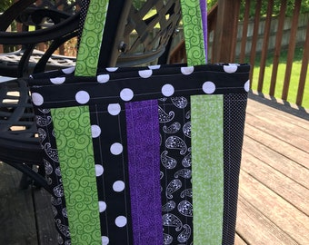 Black/Green/Purple Library Tote