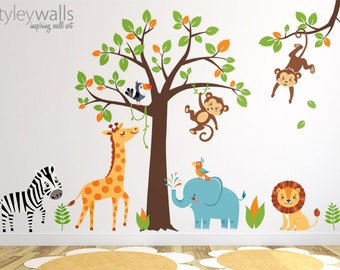 Jungle Wall Decal, Safari Wall Decal, Jungle Animals Wall Sticker, Safari Animals Sticker, Monkey Zebra Giraffe Lion Elephant Nursery Decor