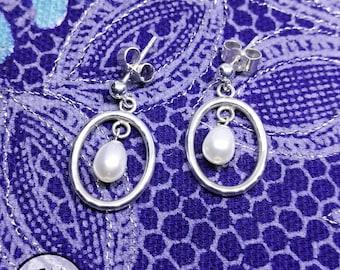 Sterling Silver Hoop Pearl Earrings