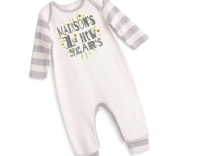 Personalized My First New Year's Baby Romper, Custom Newborn Boy 1st New Years Bodysuit, Monogrammed Infant Boy New Year's Onesie,  Tesababe
