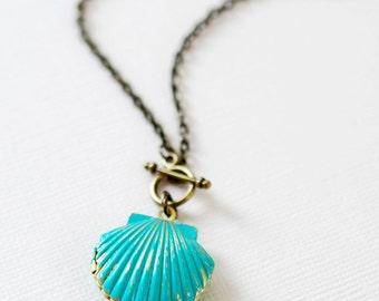 Mermaids Locket Shell Locket Necklace. Gold Brass Seashell locket, Blue Verdigris Patina shell locket Necklace
