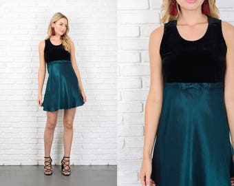 Vintage 90s Color Block Velvet Dress Black + Teal Bow Mini Party Small S 10791