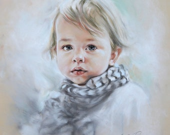 Custom Pastel Portrait Painting of Child from photography