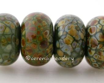 Lampwork Glass Bead Set COMMANDO GREEN RAKU - taneres frit brown - 11 or 13 mm