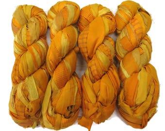 New! Premium  Iridescent Sari Silk  Ribbon yarn , 100g (50 yards) color Sun