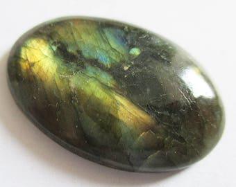 Labradorite - ref63190 - undrilled - 34x23x6mm (blue green gold highlights)