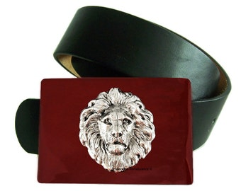 Lions Head Belt Buckle Inlaid in Hand Painted Oxblood Enamel Leo Neo Victorian Safari Inspired Custom Colors and Personalized Options