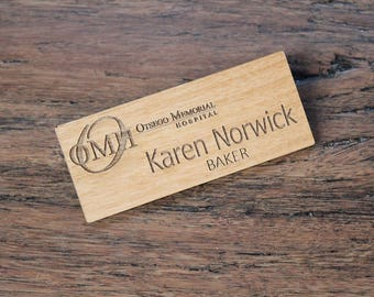 Name Badge Alder Wood Engraved Custom Name Badge Wood Name Badge