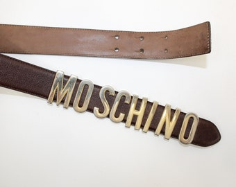Vintage 1980s Moschino Redwall brown leather waist belt size XS S