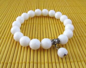 Gemstone bracelet / White  Jade  bracelet / Pure Sterlin  Silver / Energy  bracelet