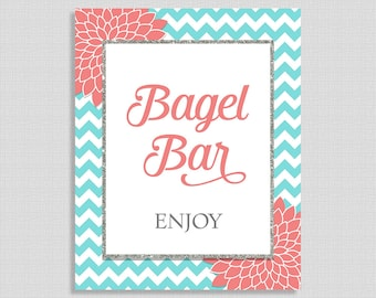 Bagel Bar Shower Table Sign, Aqua & Coral Mums Baby Shower Sign, Neutral, INSTANT PRINTABLE