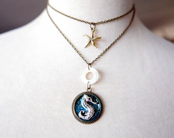 Unique piece Seahorse Necklace, fantasy jewelry, brass chain, hand painted jewelry
