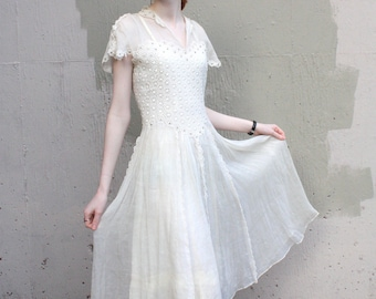 Vintage 1940's Dress // 30s 40s Sheer White Voile Embroidered Floral Appliqué Tea Party Dress // Rhinestone Studded Wedding Dress