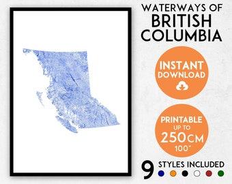 British Columbia map print, British Columbia print, BC map, Canada map, Canada print, British Columbia poster, British Columbia wall art