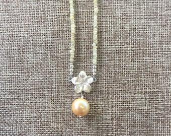 Fine Silver Plumeria & Gold Sapphire w/South Sea Pearl Necklace