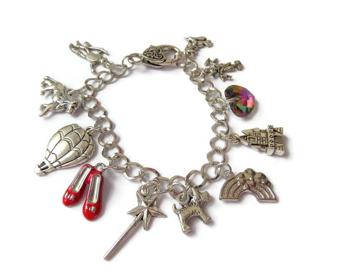 WIZARD OF OZ inspired silver tone charm bracelet fan gift xmas birthday dorothy red shoes rainbow jewellery Uk