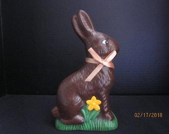 Ceramic Chocolate Bunny-Orange Flower