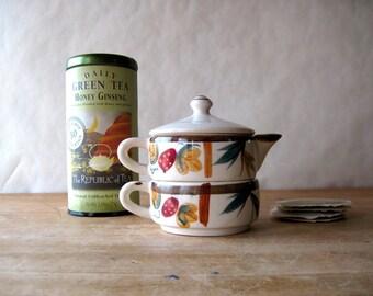 Stacked China Tea Set, Vintage Tea Set, Teacup, Teapot, Antique Tea Set, Japan Ceramics, Japanese, Hand Painted Ceramics, Tea for One