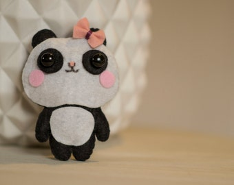 Mini Panda plush felt pink bow