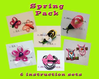 6 Pack - Spring Hair Clip Ribbon Sculpture Instruction Set