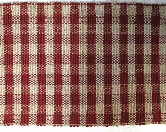 Wool Rug Brick Red Check Pattern SHIPPING INCLUDED