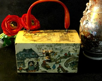 "Vintage purse fashion designer ""Anton Pieck""  decoupage lucite bakelite handle 1930's - 1950's"