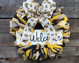 Bumble Bee Welcome Burlap Ribbon Wreath