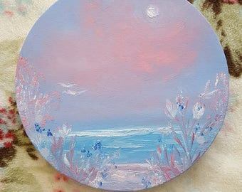 "Pink and Blue ORIGINAL oil painting - ""Brave Solace"""